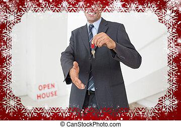 chiavi, stretta di mano, mentre, presa a terra, offerta, uomo affari, su