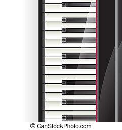 chiavi, testo, pianoforte, fondo, spazio