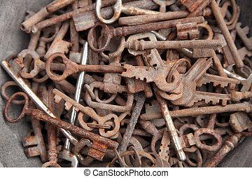 chiavi, vecchio, collezione