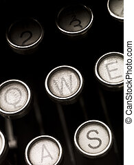 chiavi, vendemmia, macchina scrivere