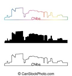 Chiba skyline linear style with rainbow.eps
