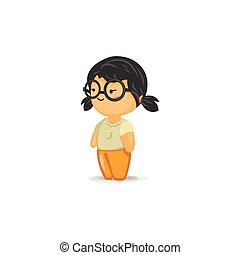 chibi, 女孩, 由于, 由于, 眼鏡