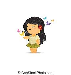 chibi, 女孩, 由于, 蝴蝶