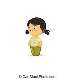 chibi, 女孩, 由于, 長辮