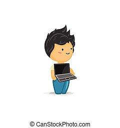 Chibi Boy with a Laptop