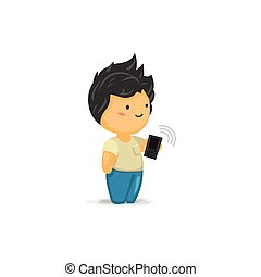 Chibi Boy with a Mobile