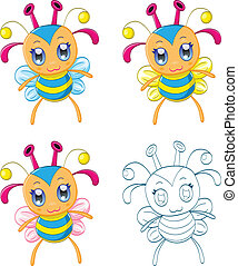 chibi, fantasme, dessin animé, créatures