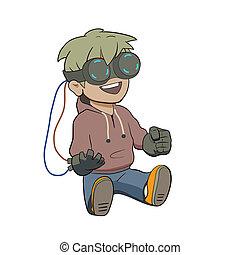 chibi, glas, niño, realidad virtual