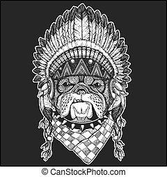 chic, écusson, pièce, frais, tatouage, indien, logo, porter, plumes, animal, image, emblème, dessiné, américain, main, style, coiffure, indigène, bouledogue, boho