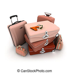 Elegant looking baggage in beige, brown and pink with a woman?s gloves and sunglasses on top