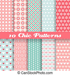 Chic different vector seamless patterns (tiling). - 10 Chic...