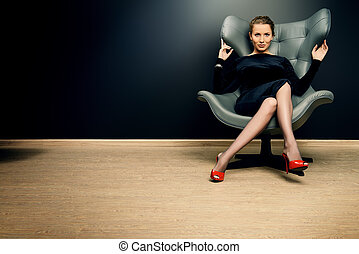 chic furniture - Portrait of a stunning fashionable model ...