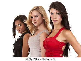 chic, groupe, femmes