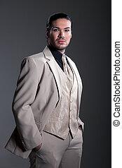 chic, kleding, zakenman