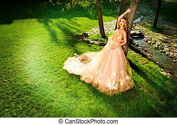 chic peach dress