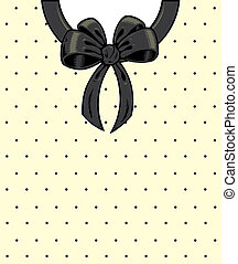 Chic polka dots and ribbon on a shirt detail illustration.