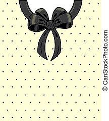 Chic polka dots and ribbon on a shirt detail illustration.
