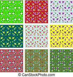 Chic Rose Patterns seamless fabric and paper backgrounds,...