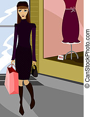 Chic Shopping - Woman leaving a chic boutique, shopping bag...