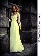 chic wedding dress - Beautiful fashion model in luxurious...