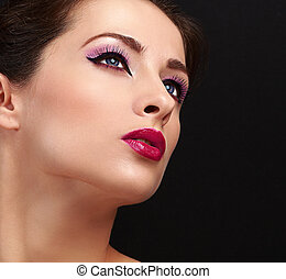 Chic woman face makeup. Long lashes and gloss lipstick....