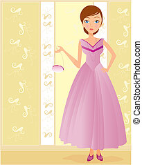 chic woman with dress - Is a editable eps file