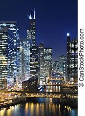 chicago, à, night.