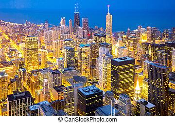 chicago, śródmieście, na, zmierzch