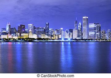 chicago), 財政, (night, 地区, 光景