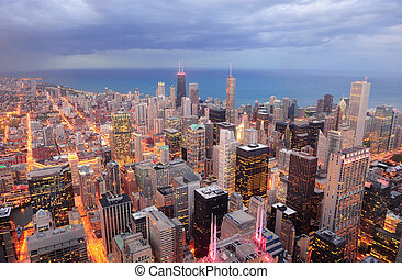 Chicago aerial view at dusk