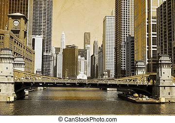 chicago, -, afbeelding, ouderwetse , effect