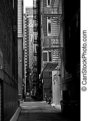 Chicago Alley in BW - Chicago Downtown Alley in Black and...