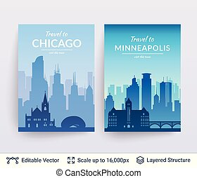 Chicago and Minneapolis famous city scapes. - Flat well...