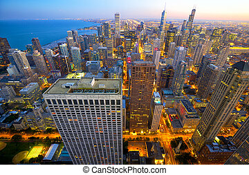chicago, anochecer