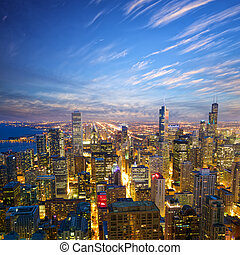 chicago, anoitecer