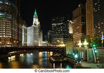 Chicago at night, IL, USA, 2007