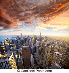 Chicago at sunset - Aerial view of Chicago at sunset, IL,...