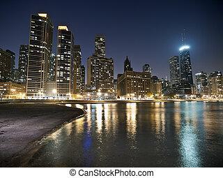 Chicago Beach Night