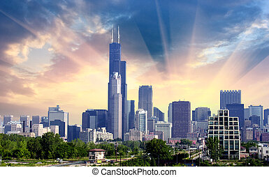 Chicago. Beautiful skyline with vegetation and skyscrapers