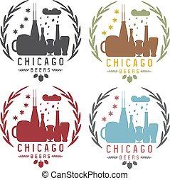 chicago beer festival vector vintage emblems set