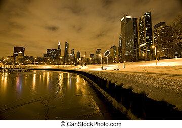 chicago, belvárosi, város, éjszaka, fotográfia