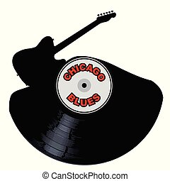 Chicago Blues Music Silhouette Record - A vinyl LP record...