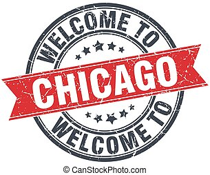chicago, briefmarke, weinlese, herzlich willkommen, runder ,...