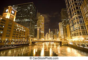 chicago, céntrico, ciudad, noche, fotografía