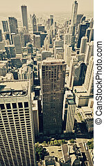 Chicago city aerial view