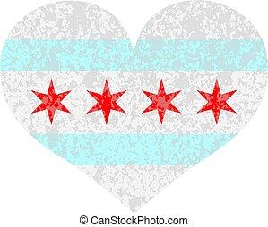 Chicago City Flag Heart Texture Illustration