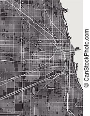 Chicago city plan, detailed vector map