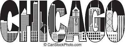 Chicago City Skyline Black and White Text Illustration - ...