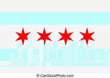 Chicago City Skyline Flag Color Illustration