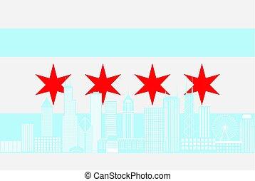 Chicago City Skyline Flag Color Illustration